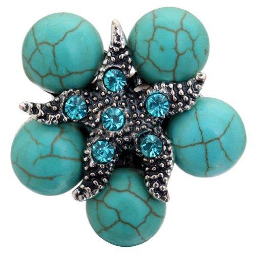 YAZILIND Starfish superpone kallaite Elegante Anillo de Cristal de Plata Tibetano de...