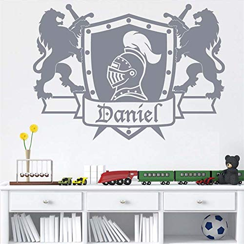 Wandtattoo Kinderzimmer Wandtattoo Wohnzimmer Persönlicher Name Ritter Schild Aufkleber Für Schlafzimmer Jungen Wohnkultur Poster Wandbilder für wohnzimmer