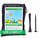 Bird Netting [Heavy Duty] 50' x 50' with 1' Square - Nylon Bird Net Protect Fruit Tree, Plant and Vegetables Against Birds, Deer and Other Pests, Netting as Fruit Net, Aviary Netting for Farm, Orchard