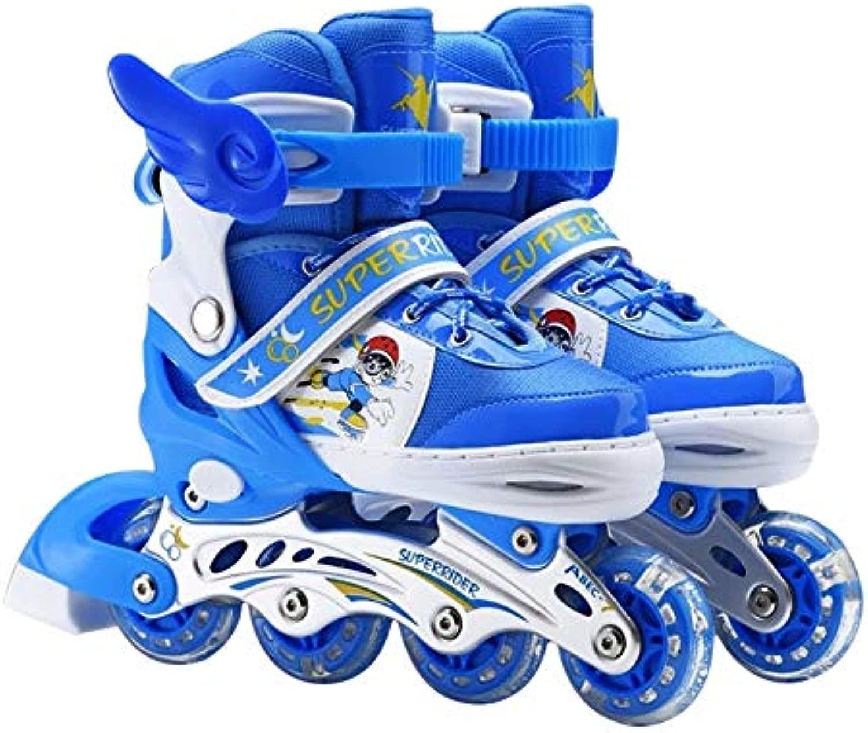 WTYD アウトドアスポーツ用品 調整可能なフルフラッシュ子供単列四輪ローラースケートスケート靴、サイズ:L(ピンク) アウトドアライフのために