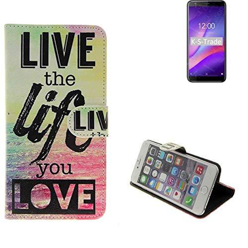 K-S-Trade® Schutzhülle Für -Vernee M3- Schutz Hülle 360° Wallet Case 'live Life Love' Schutzhülle Handy Tasche Handyhülle Etui Smartphone Flip Cover Standfunktion (1x)