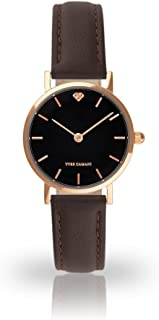 YVES CAMANI LÈA Women's Wrist Watch Quartz Analog Rosegold Stainless Steel Case Black Dial