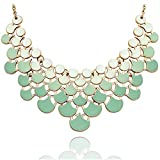 JANE STONE Fan Statement 2019 Fashion Resin Frontal Bib Paradise Green Peacock Necklace Popular Jewelry