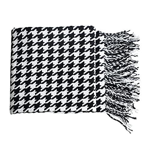 Sofa Decken Erwachsene, Moderne einfache Wurfdecke Schwarz-Weiß-Hahnentritt-dekoratives Sofa-Decke Homestay Hotel Bett-Ende-Handtuch-Bett-Flagge weiche Schal (Color : 1, Size : 130x152cm)