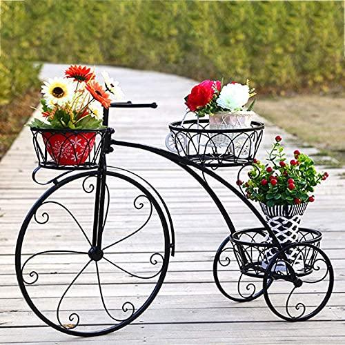 ZJDM Indoor Flower Stand, Creative Bicycle Plant Stand Plant Pot Holder Metal Plant Pot Stand for Indoor Outdoor Garden Balcony - Black