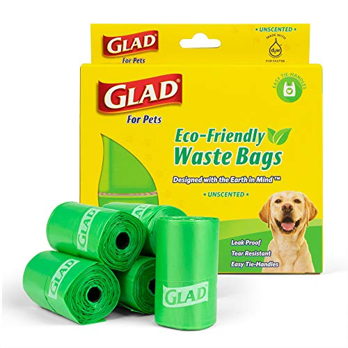 Glad for Pets Eco Friendly Dog Waste Bags   8 Rolls of Unscented Dog Waste Bags, 120 Bags in Total   Earth Friendly Dog Waste Bags for All Dogs, Leak Proof and Strong Dog Poop Bags (FF11506)