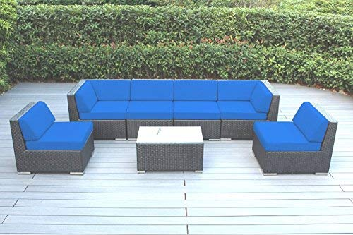 Hot Sale Ohana Collection pn0703asmb Sunbrella Outdoor Patio Wicker Furniture 7-Piece Couch Set with Free Patio Cover, Blue