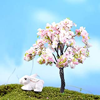 2pcs Plum Cherry Sakura Blossom Flower Tree Artificial Plant Miniature Trees, Indoor Miniature, Doll House Forest, Fairy Garden, Camping