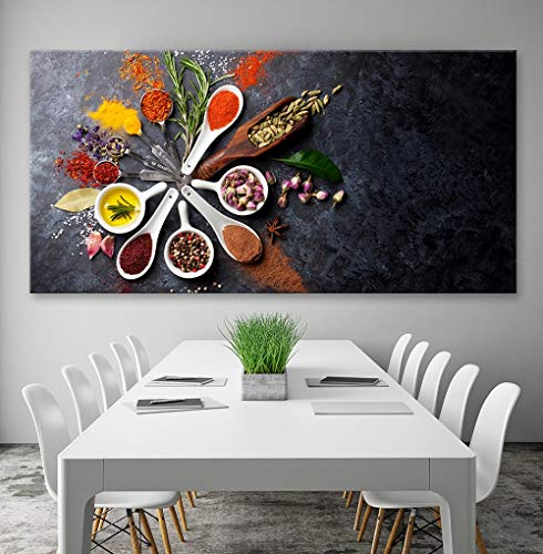 XCSMWJA Lebensmittel Malerei Moderne Gewürze Poster Hd Print Leinwand Modulare Bild Für Küche Restaurant Wohnkultur Wandkunst Ungerahmt Banner 40 * 80Cm