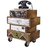 FineBuy Sideboard 50 x 35 x 61 cm Anrichte mit 4 Schubladen Massivholz | Kommoden-Schrank Industrie Design | Mehrfarbig Kommode mit Rollen | Schubladenkommode modern