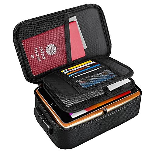 Moko Ognioodporna torba na dokumenty, mały ognioodporny organizer na dokumenty z zamkiem - ognioodporny i wodoodporny 3-warstwowy pokrowiec do przechowywania ważnych dokumentów, pieniędzy, kart, certyfikatów, paszport, czarny