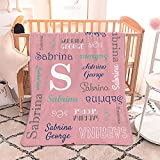 ONGNOU Custom Blanket Personalized Throw Blanket with Monogram Name Text Perfect Customized Baby Blanket for Newborn Baby, Toddler, Kids, Friends or Family on Thanksgiving Christmas and Birthday Gift