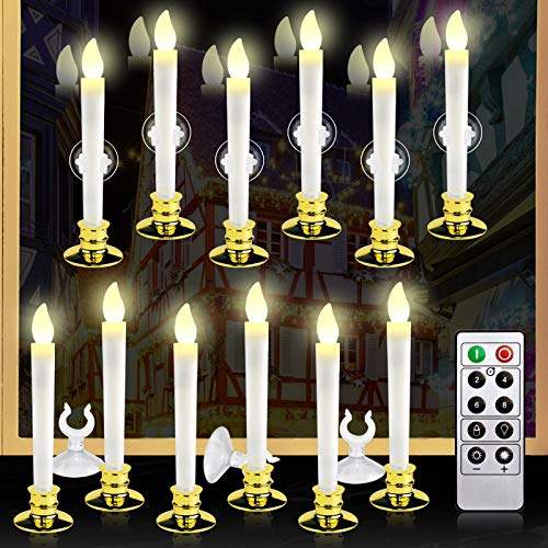 Kithouse 12 Set Christmas Window Candles Lights with Timer Battery Operated Electric LED Taper Candles Flameless for Windows, Gold Candle Holders, Suction Cups & 24 PCS Battery Included