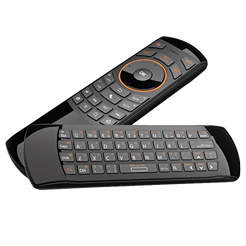 Rii Mini i25 (Spanische Layout) - Mini Wireless Tastatur mit Maus Gyro und Infrarot-Fernbedienung für SMART TV, Mini PC Android, Playstation, Xbox, HTPC, IPTV, PC, Raspberry Pi, Kodi, XBMC