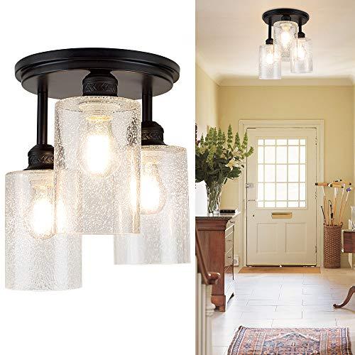Depuley LED Deckenleuchte 3-Flammig Glas, Deckenlampe Modern, Vintage Lampe Retro Design, E27 Sockel Perfekt für Wohnzimmer Küche, Schlafzimmer (Ohne Birne), Schwarz