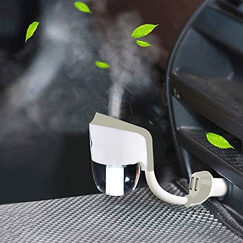 Car Oil Diffuser with Dual USB Charger Adapter, Mini Car Diffuser Humidifier for Essential Oils, Car Air Humidifier for Automobile Gift White