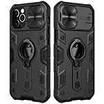 CloudValley Compatible with iPhone 12 Pro Max Case with Camera Cover & Kickstand, Slide Lens Cover + Built-in 360° Rotate Ring Stand, Black Armor Style, Impact-Resistant, Shockproof, Full Protect