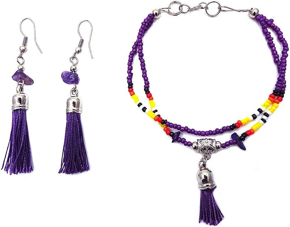 Handmade Native American Style Tribal Thread Tassel Dangle Seed Bead Double Strand Bracelet Tassel Chip Stone Thread Dangle Earrings Jewelry Set
