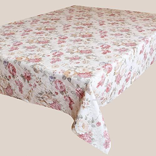 Kamaca Serie Romantic Roses en color crema y rosa con delicados tonos pastel, calidad de marca, alto porcentaje de algodón (mantel 130 x 170 cm)