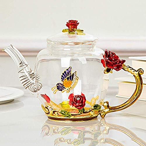 JiangKui Tea Kettle Infuser Stovetop Gift Set High Borosilicate Pyrex Teapot Thickened Home Large Apacity Filter TeapotD