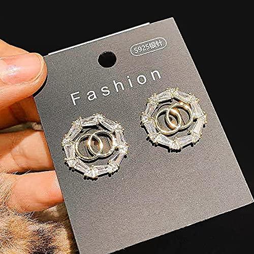 ShSnnwrl Aretes Pendientes Mujer de Plata Hombre Pendiente Pendientes Coreanos de Moda para Mujer, exquisitos Cristales Brillantes de Lujo,