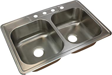 Transolid CTDE33228-4 Classic 4-Hole Drop-in 50/50 Double Bowl 18-Gauge Stainless Steel Kitchen Sink, 33-in x 22-in x 8-in, B