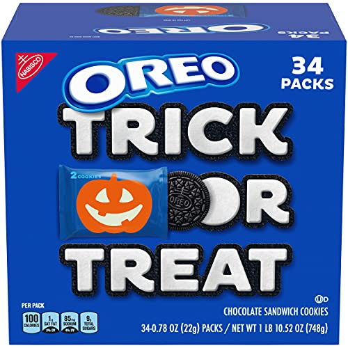 OREO Chocolate Sandwich Halloween Cookies, 34 Trick or Treat Snack Packs (2 Cookies Per Pack)