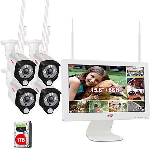 """【LED Strahler & PIR AI Wärmesensor】Tonton 3MP WLAN Überwachungskamera Set Außen 8CH 15.6\""""Monitor Videoüberwachung 4Stk. WLAN IP Funk Überwachungskameras für Innen Außen 30M Nachtsicht 1TB Festplatte"""