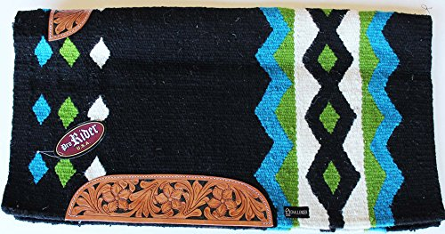 ProRider 34x36 Horse Wool Western Show Trail SADDLE BLANKET Rodeo Pad Rug Black 3634C
