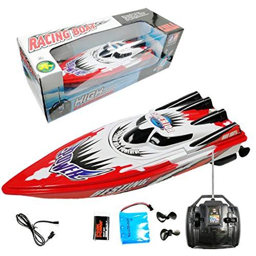 Bixmox RC Boot Ferngesteuertes Boot High Speed Boot mit 2 Motoren Racing Rennboot-Modell Ferngesteuerte Boote (rot)