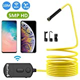 BlueFire 5MP HD WiFi Borescope 1944P Semi-Rigid Wireless Endoscope IP68 Waterproof Inspection Camera