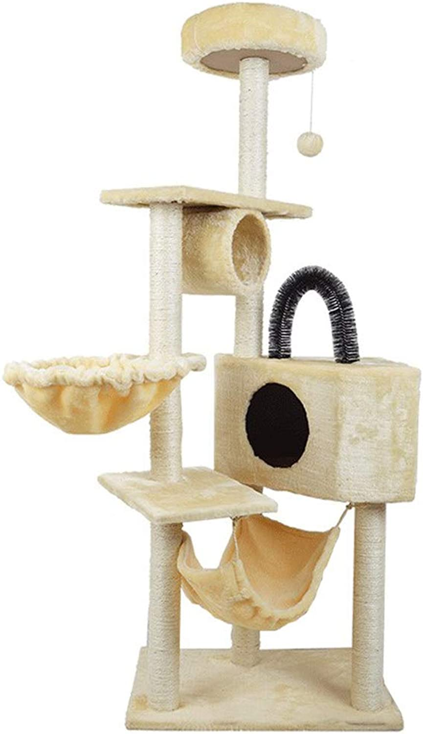NYDZDM Cat Tree Toy House with Hanging Ball Kitten Furniture Scratchers Solid Wood for Cats Climbing Frame Cat Condos