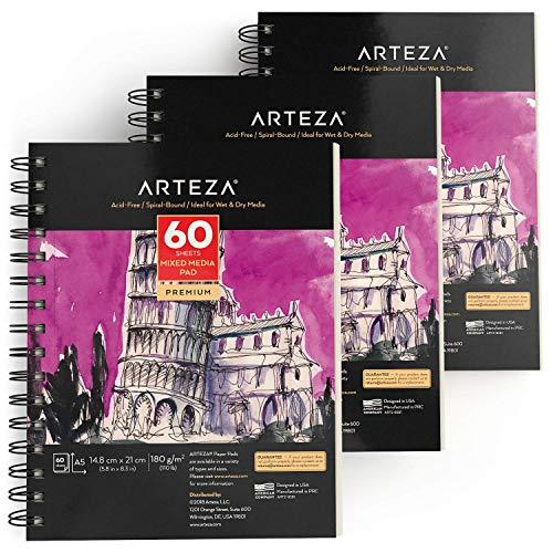 Arteza Zeichenblock A5 (148x210 mm) | Mixed Media Sketchbooks | Spiralgebundener Skizzenblock mit 60 Blättern | 180gms Säurefreies Papier | Perfekt für Nasse und Trockne Medien - Packung mit 3 Stück