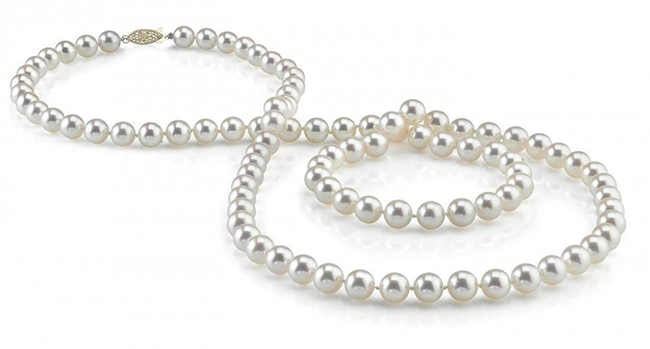 THE PEARL SOURCE 14K Gold 6.5-7.0mm Round Genuine White Japanese Akoya Saltwater Cultured Pearl Necklace in 36