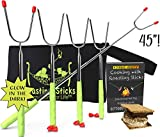 Marshmallow Roasting Sticks Extra Long - 6 Colors And 2 Glow In The Dark S'more Sticks For Fire Pit -Telescoping Set of 8