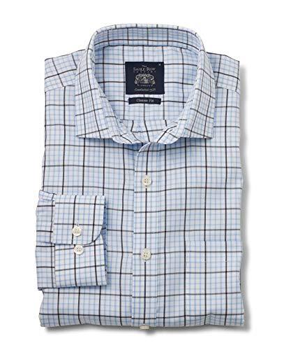 Savile Row Men's White Navy Blue Twill Check Classic Fit Shirt L Standard