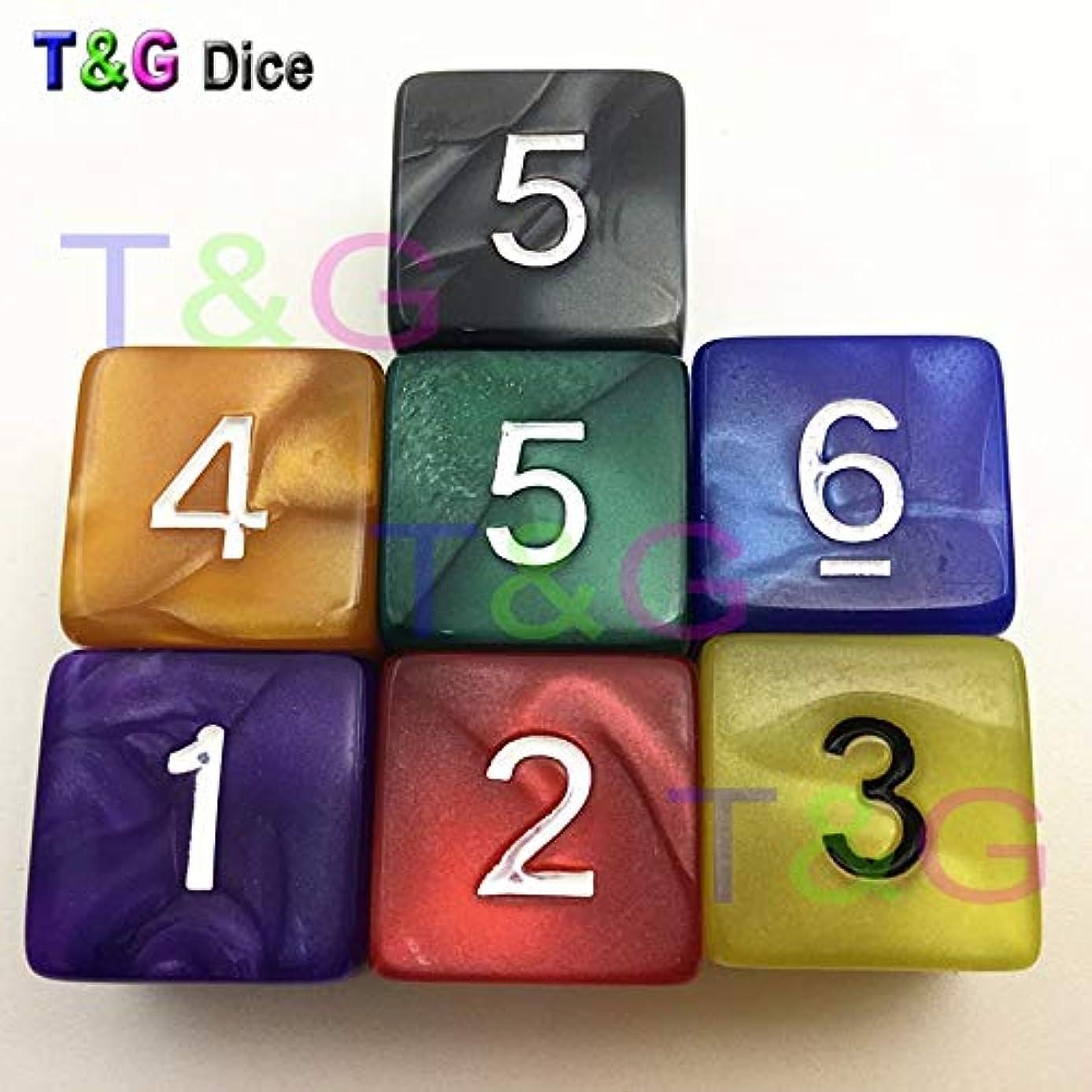 BIG-DEAL_5 dice/Set Multi D6 Dice Set Marble Effect,d&d, 6 Side Digital for Board Game,Plastic Granule - ( Color:Multi Random 5 pcs )