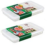 2 Pack Plastic Bacon Box, Deli Meat Saver Cold Cuts Fridge Keeper, Cheese Food Storage Container with Lid for Refrigerator, Shallow Low Profile Christmas Cookie Holder