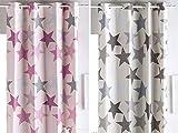 Sansa - Cortina con ollaos Estrellas - 200x260 cm - Color Gris