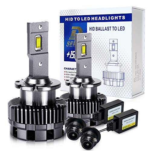 D2S D2R LED Headlight Bulbs Conversion Kit 70W 8600LM High Low Beam Plug and Play Car LED Headlight 6500K White Replacement of OEM HID Xenon - M10