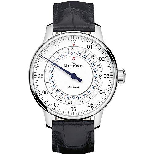 MeisterSinger Adhaesio Reloj automático con sólo una aguja Segundo Huso Horario
