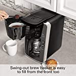 Hamilton beach programmable coffee maker, 12 cups, front access easy fill, pause & serve, 3 brewing options, black… 11 front access for easy filling fill the water tank from the front of the machine, not just the back front-access makes it easy to keep the coffee maker under the cabinet when in use swing out brew basket easier to fill and keep clean than a top load basket. Nonstick hot plate programmable clock set your brew time and strength in advance, and get peace of mind with a 2 hour automatic shutoff