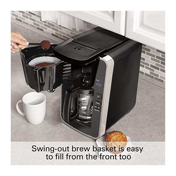 Hamilton beach programmable coffee maker, 12 cups, front access easy fill, pause & serve, 3 brewing options, black… 4 front access for easy filling fill the water tank from the front of the machine, not just the back front-access makes it easy to keep the coffee maker under the cabinet when in use swing out brew basket easier to fill and keep clean than a top load basket. Nonstick hot plate programmable clock set your brew time and strength in advance, and get peace of mind with a 2 hour automatic shutoff