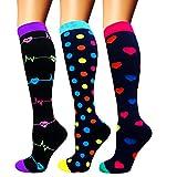 Calcetines de compresión para mujeres y hombres: los mejores calcetines médicos, para correr, enfermería, circulación y recuperación, senderismo, viajes y vuelo, 20-25 mmHg A01-multicolor-3 pairs S/M