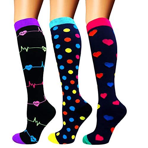 Calcetines de compresión para mujeres y hombres: los mejores calcetines médicos, para correr, enfermería, circulación y recuperación, senderismo, viajes y vuelo, 20-25 mmHg A1-multicolor-3 pairs S/M
