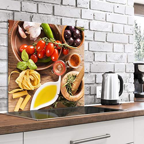 murando Spritzschutz Glas für Küche 60x60 cm Küchenrückwand Küchenspritzschutz Fliesenschutz Glasbild Dekoglas Küchenspiegel Glasrückwand Gewürze Gemüse - j-B-0052-aq-a