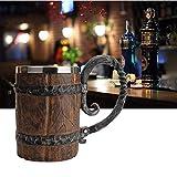 wooden beer barrel - Wooden Barrel Beer Mug,Bucket Shaped Drinkware With Handle,Stainless Steel Double Wall Cocktail Mug for Bar Restaurant