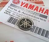 Genuine 12mm Diameter Yamaha Tuning Fork Decal Sticker Emblem Logo Black / Silver Raised Domed Gel Resin Self Adhesive Motorcycle / Jet Ski / ATV / Snowmobile