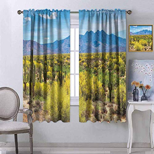 Saguaro Cactus Decor Collection Black Out Window Curtains Blooming Palo Verdes and Saguaros at Four Peaks Foothills near Phoenix Arizona Image Light Blocking Back Rod Pocket Draperies For Apartment