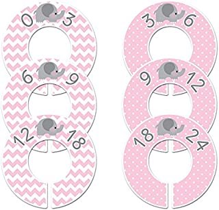 Pink Elephant Baby Girl Nursery Clothing Size Dividers Set of 6 (1.25 Inch Rod)